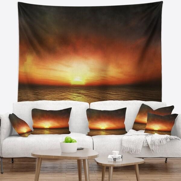 Designart 'Fiery Sunset Beach under Cloudy Sky' Modern Seashore Wall Tapestry