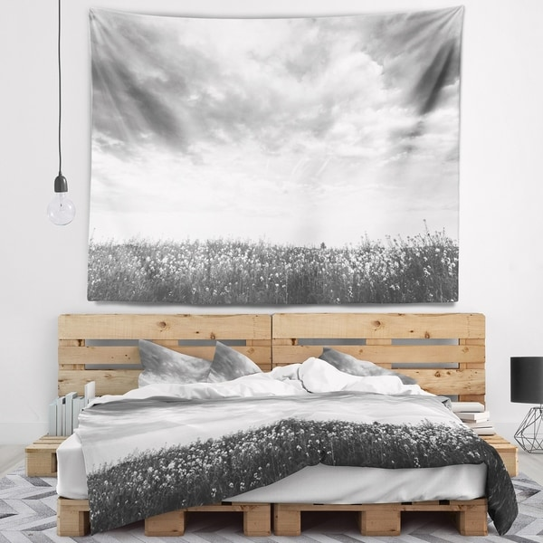 Designart 'Rapeseed Garden in Black and White' Landscape Wall Tapestry