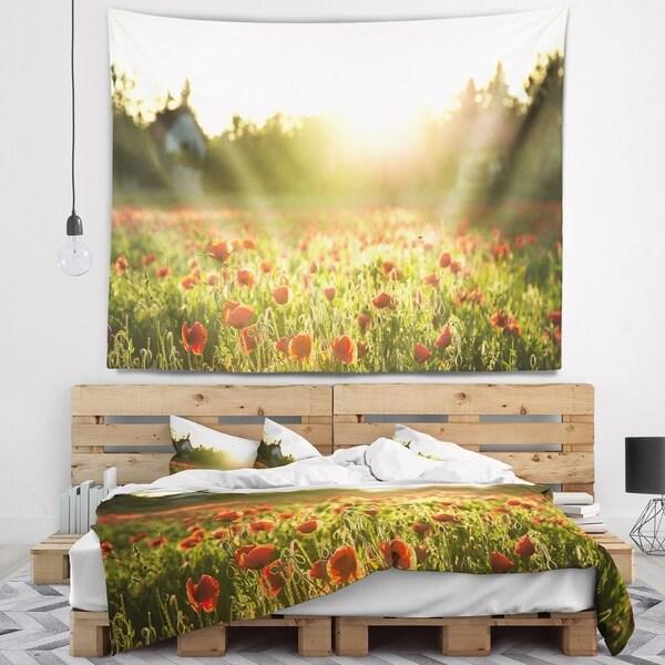 Designart 'Poppy Field under Bright Sunlight' Landscape Wall Tapestry