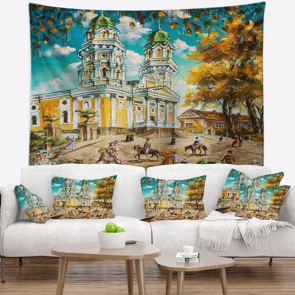 Designart 'Old Church' Landscape Wall Tapestry