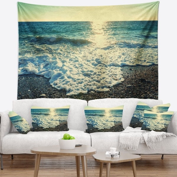 Designart 'Dramatic Blue Waves on Beach' Seashore Wall Tapestry