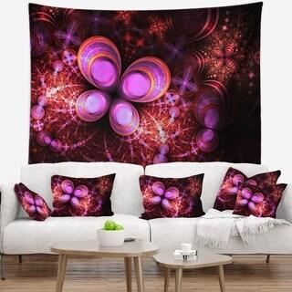 Designart 'Glowing Purple Pink Fractal Flower' Floral Wall Tapestry