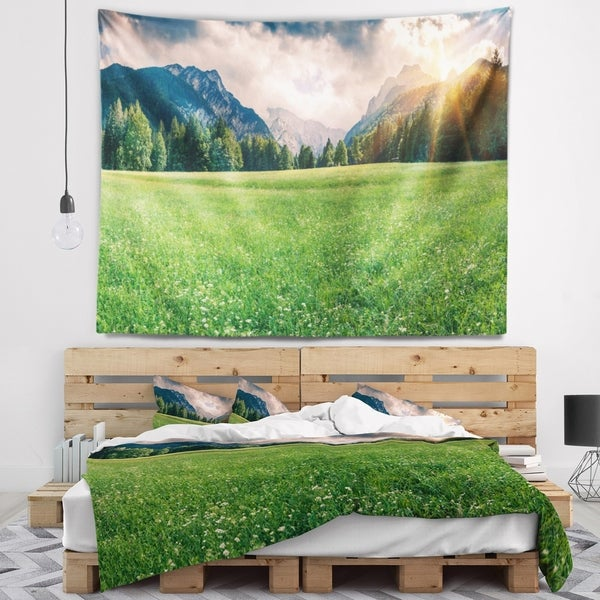 Designart 'Triglav Mountain Panorama' Landscape Photography Wall Tapestry