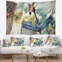 Designart 'Library Way and 5th Avenue Street Signs' Modern Cityscape Wall Tapestry