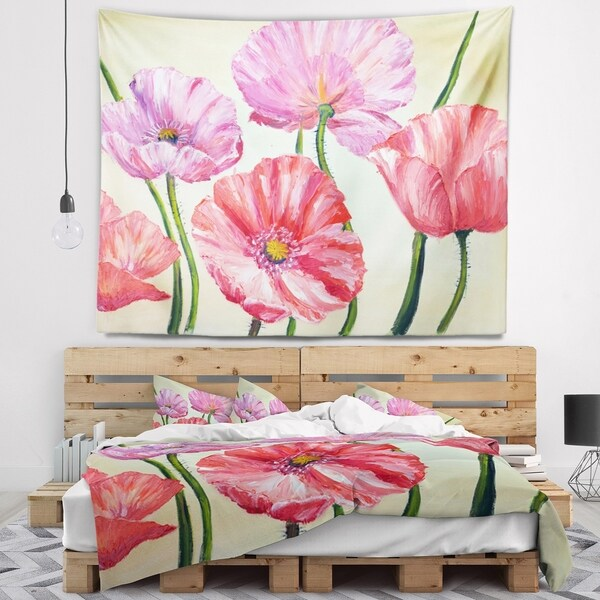 Designart 'Red and Pink Poppies' Floral Wall Tapestry