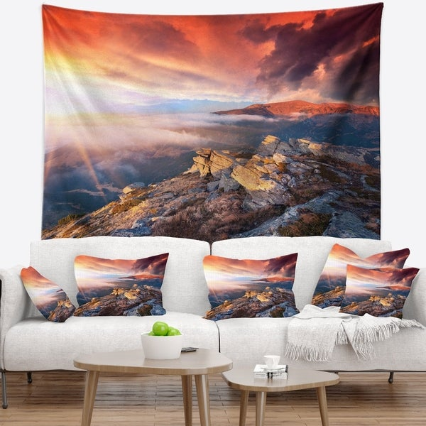 Designart 'Colorful Autumn Sky and Mountains' Landscape Photography Wall Tapestry