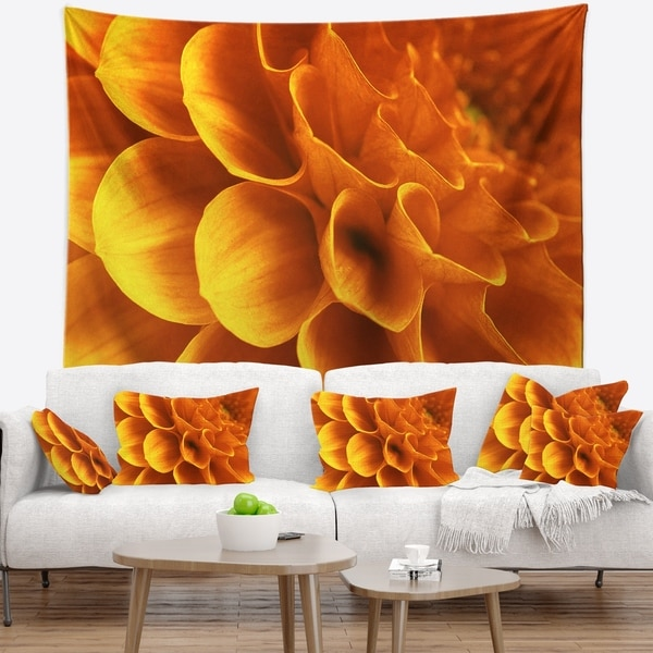 Designart 'Yellow Abstract Floral Design' Floral Wall Tapestry