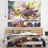 Designart 'Lilac Bouquet in a Vase' Floral Wall Tapestry