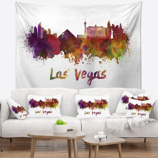 Designart 'Las Vegas Skyline' Cityscape Wall Tapestry