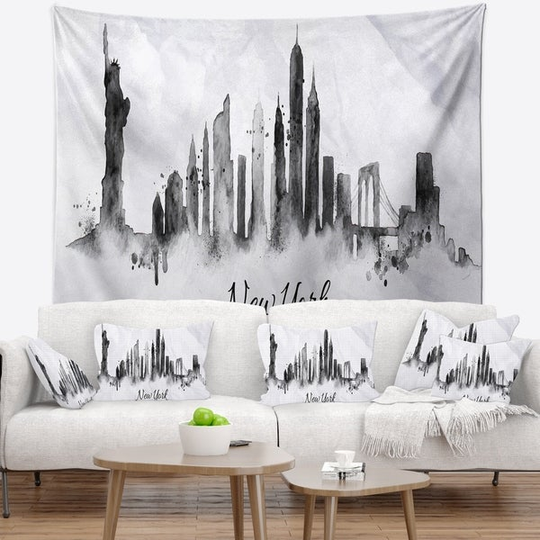 Designart 'Silhouette Ink New York' Cityscape Wall Tapestry