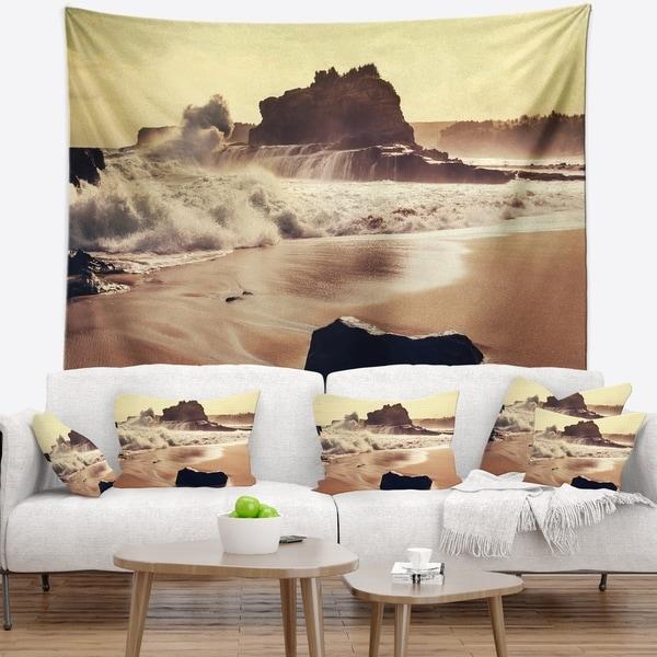 Designart 'Java Beach with Foaming Waters' Seashore Wall Tapestry