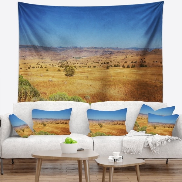 Designart 'Prairie with Bright Blue Sky' Landscape Wall Tapestry