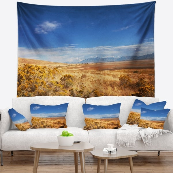 Designart 'Expansive Prairie under Blue Sky' Landscape Wall Tapestry