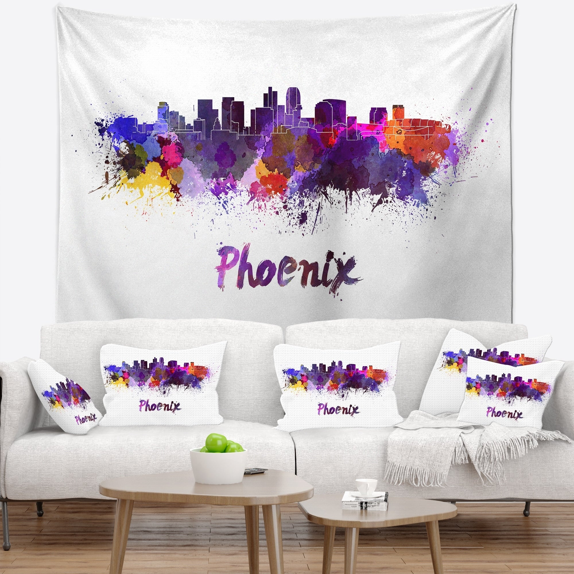 Designart 'Phoenix Skyline' Cityscape Wall Tapestry