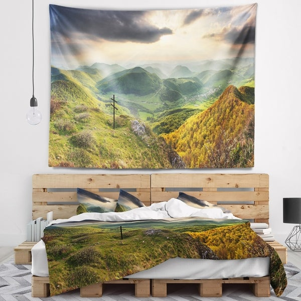 Designart 'Slovakia Spring Forest Mountain' Landscape Wall Tapestry