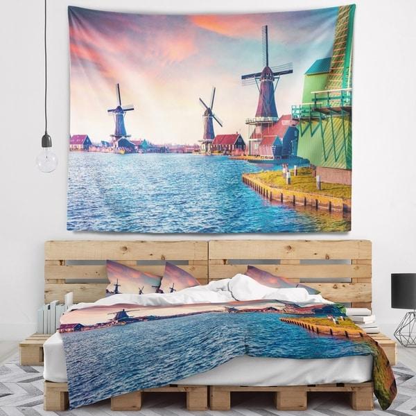 Designart 'Zaandam Mills on Water Channel' Landscape Wall Tapestry