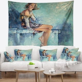 Designart 'Girl with Glass' Portrait Wall Tapestry