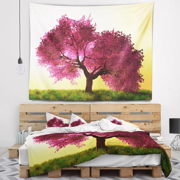 Designart 'Cherry Blossom in Beautiful Garden' Landscape Wall Tapestry