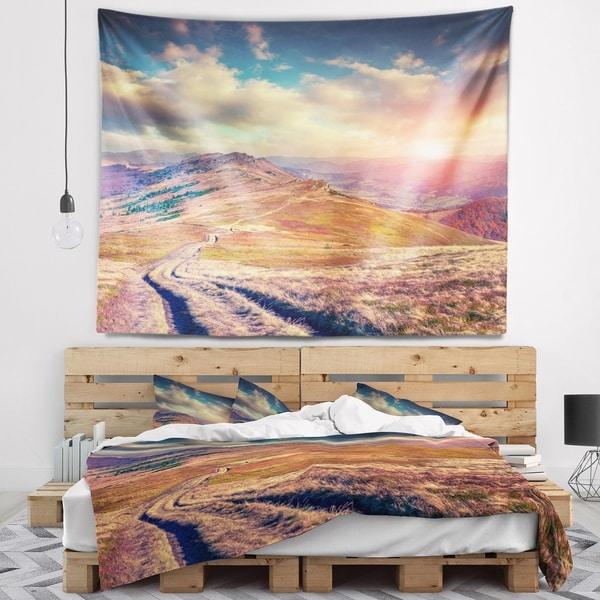Designart 'Amazing Autumn Landscape in Hills' Landscape Wall Tapestry