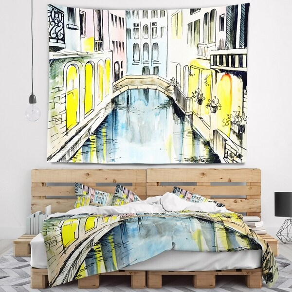 Designart 'Canal in Venice' Cityscape Wall Tapestry