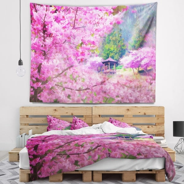 Designart 'Japanese Cherry Flowers' Floral Wall Tapestry