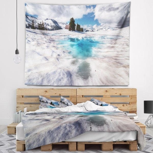 Designart 'Beautiful Snow Covered Lake' Landscape Wall Tapestry