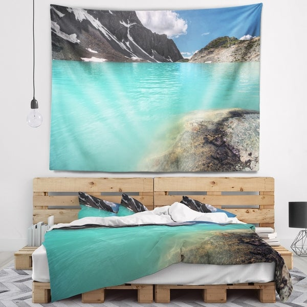 Designart 'Crystal Clear Mountain Lake' Landscape Wall Tapestry