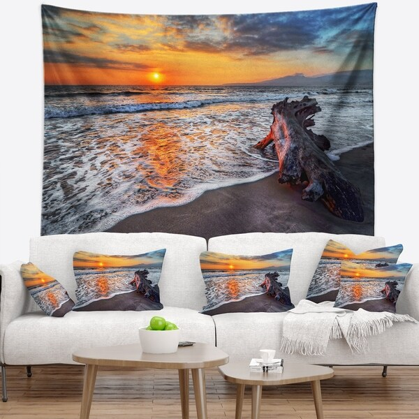 Designart 'Fantastic Sandy Shore at Sunset' Seashore Wall Tapestry