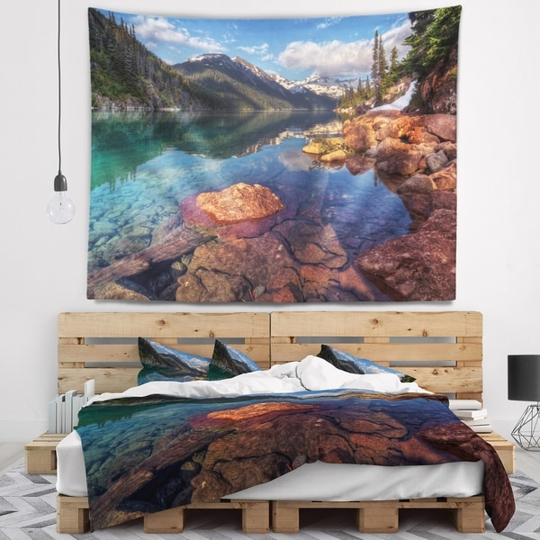 Designart 'Clear Lake with Distant Mountains' Landscape Wall Tapestry