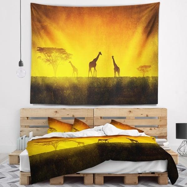 Designart 'African Sunset Aura' Landscape Wall Tapestry