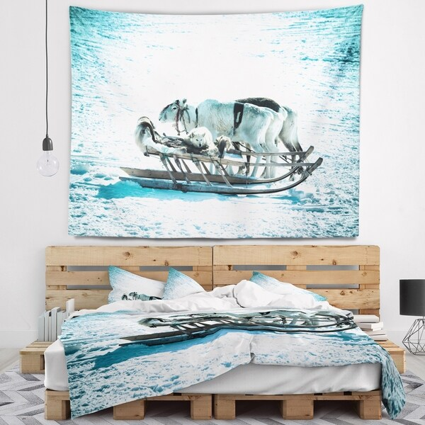 Designart 'Dogs on Reindeer Sleigh' Animal Wall Tapestry