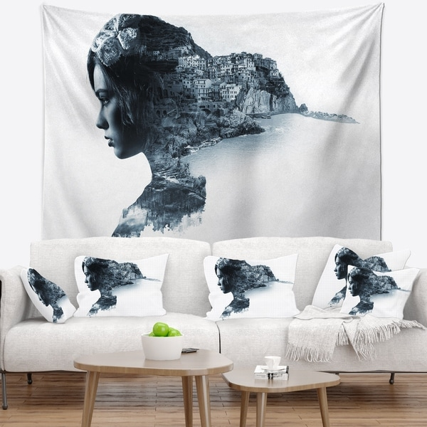Designart 'Woman Portrait Double Exposure' Portrait Wall Tapestry