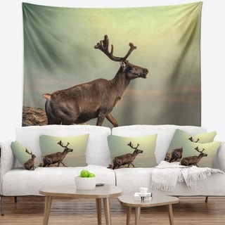 Designart 'Reindeer on Top of the Mountain' Animal Wall Tapestry