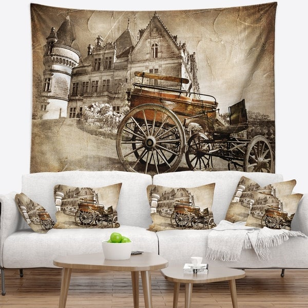 Designart 'Medieval Castle with Carriage' Contemporary Wall Tapestry