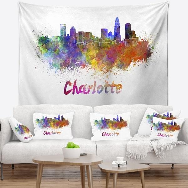 Designart 'Charlotte Skyline' Cityscape Wall Tapestry