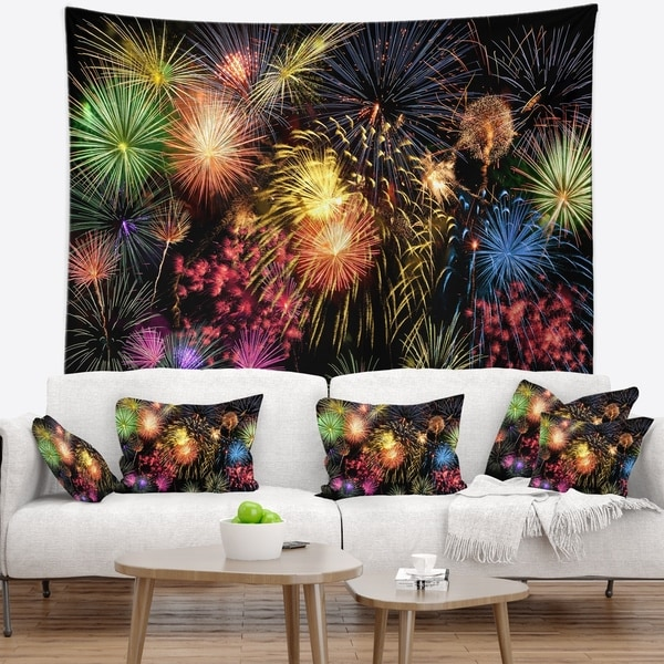 Designart 'Colorful Fireworks at Night Sky' Skyline Photography Wall Tapestry