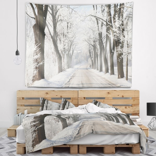 Designart 'Winter Lane in Countryside' Forest Wall Tapestry