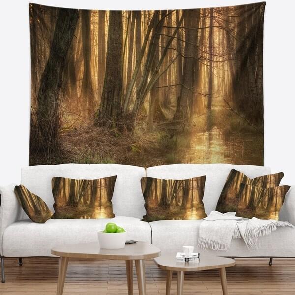 Designart 'Golden Morning in Dense Forest' Landscape Photography Wall Tapestry