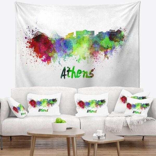 Designart 'Athens Skyline' Cityscape Wall Tapestry