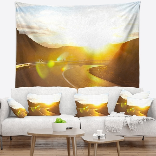 Designart 'Yellow Road under Sunset' Landscape Wall Tapestry