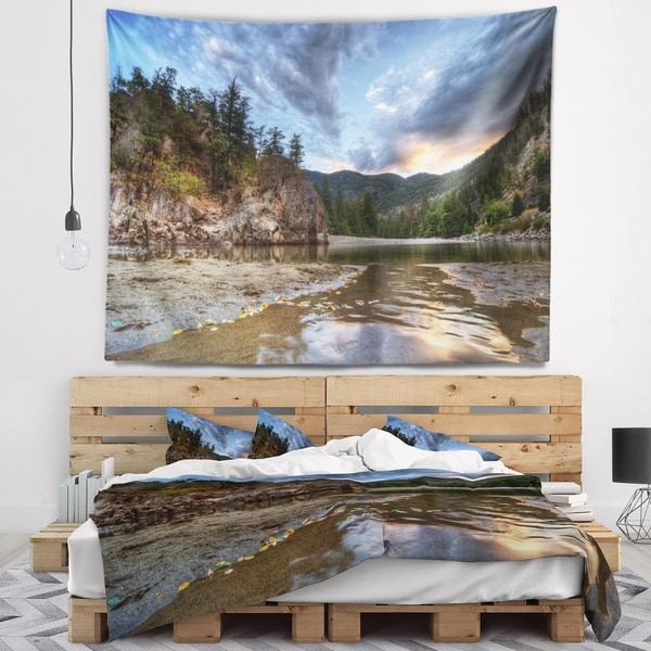 Designart 'Peaceful Evening at Mountain Creek' Landscape Wall Tapestry