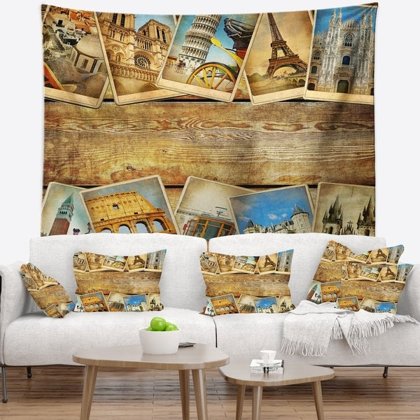 Designart 'Vintage Collage Cards' Contemporary Wall Tapestry
