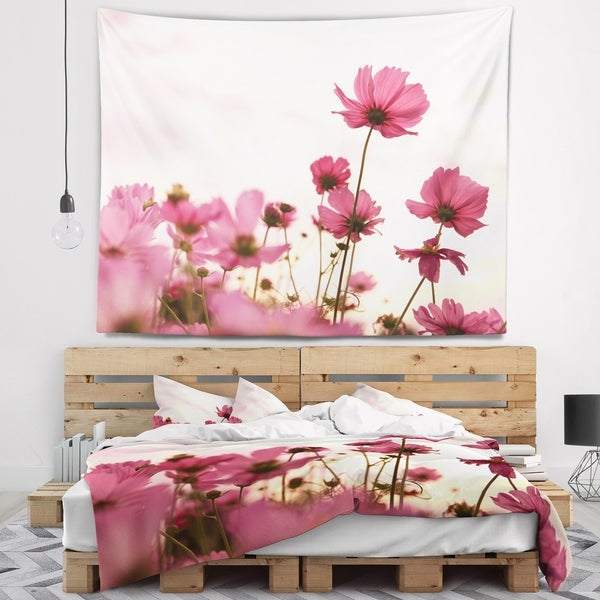 Designart 'Cosmos Flowers Meadow At Sunset' Floral Wall Tapestry