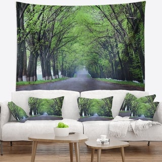 Designart 'Arched Trees Over Country Road' Landscape Photography Wall Tapestry