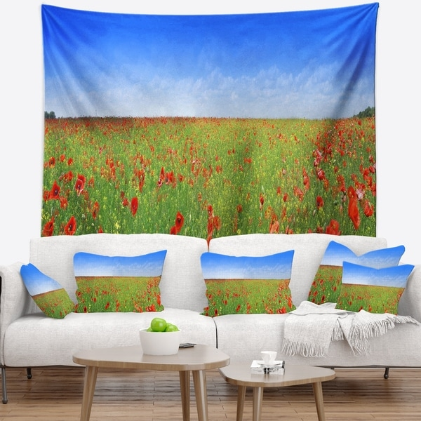 Designart 'Poppy Meadow Panorama' Landscape Wall Tapestry
