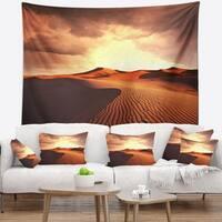 Designart 'Desert Dunes under Cloudy Sky' Modern Landscape Wall Tapestry