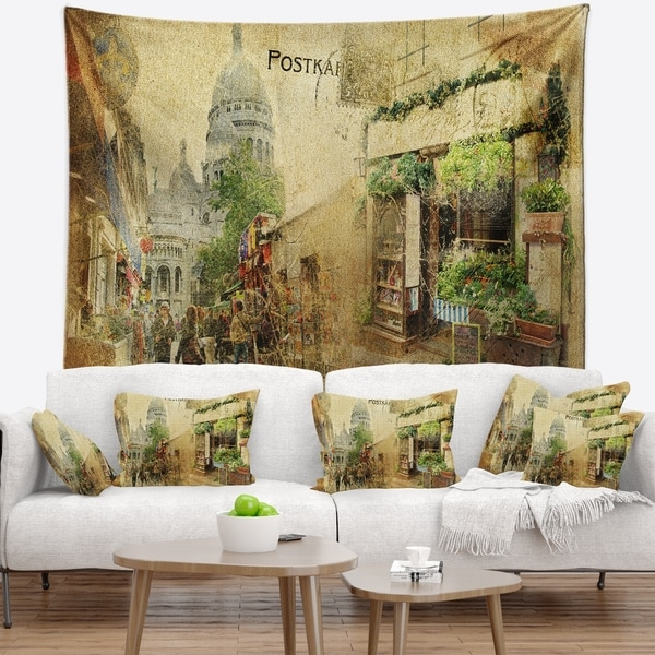 Designart 'Vintage Parisian Cards' Contemporary Wall Tapestry