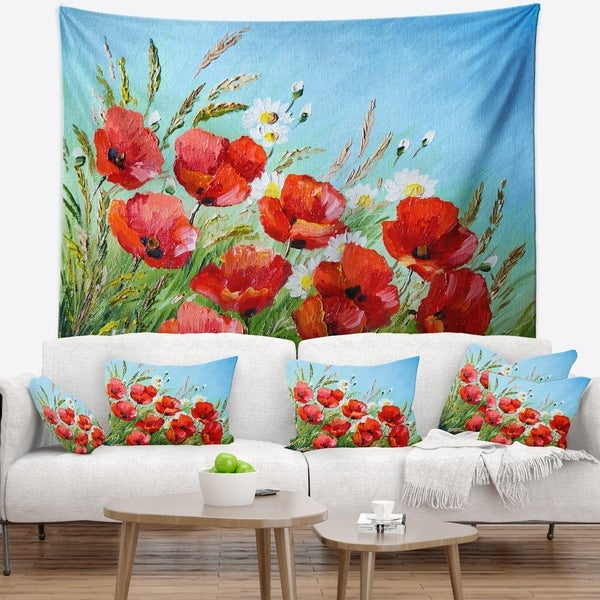 Designart 'Poppies in Field against Blue Sky' Floral Wall Tapestry