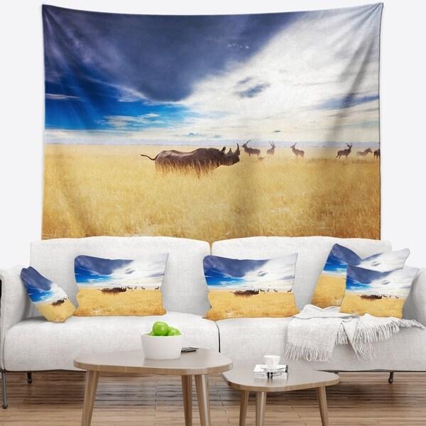 Designart 'Huge Rhino with Antelopes' Seashore Wall Tapestry