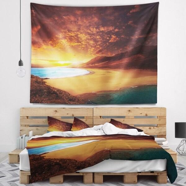 Designart 'Cofete Beach Fuerteventura' Landscape Wall Tapestry